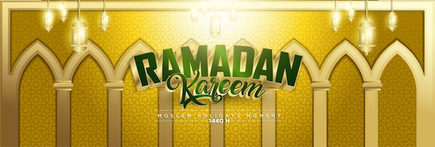 Złoty ramadan kareem tło