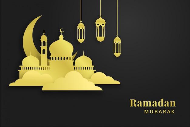 Złoty ramadan pozdrowienie tła