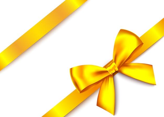 Złoty realistyczny prezent łuk z poziomą wstążką na białym tle