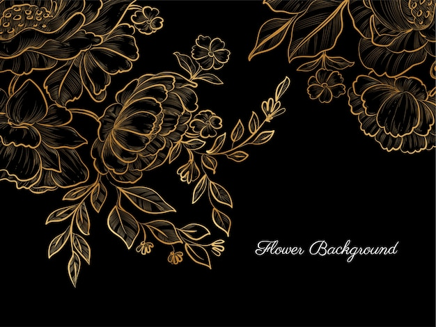 Złoty ręcznie rysowane kwiat na czarnym tle