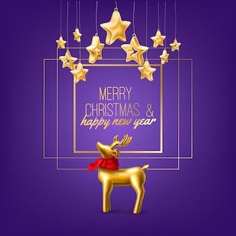 Złoty renifer w biżuterii z czerwonym szalikiem w kwadratowej ramce z wesołych świąt i szczęśliwego nowego roku
