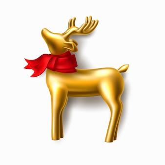 Złoty renifer w czerwony szalik element biżuterii zbliżenie