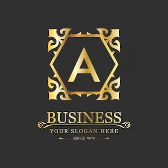Złoty rocznik logo szablonu
