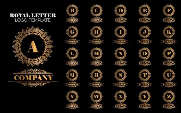 Złoty royal luxury logo szablon wektor