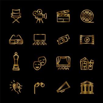 Złoty rozrywki i wydajności linii wektorowe ikony