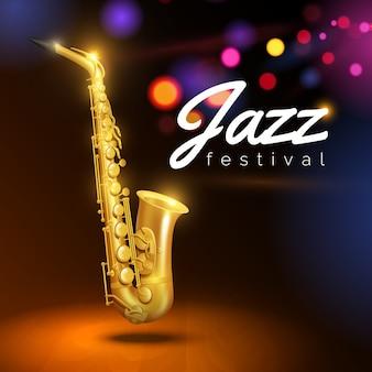 Złoty saksofon na czarnym tle