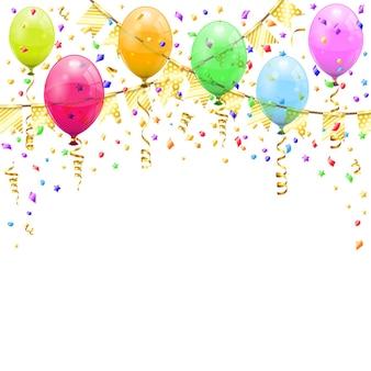 Złoty serpentyn i złote konfetti, skręcone wstążki, balony, flagi. urodziny, karnawał, boże narodzenie, impreza, dekoracja nowego roku. ilustracja wektorowa na białym tle na białym tle