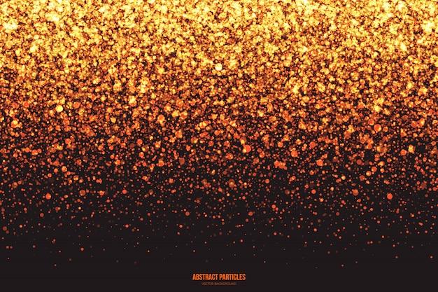 Złoty shimmer świecące spadające cząsteczki streszczenie tło