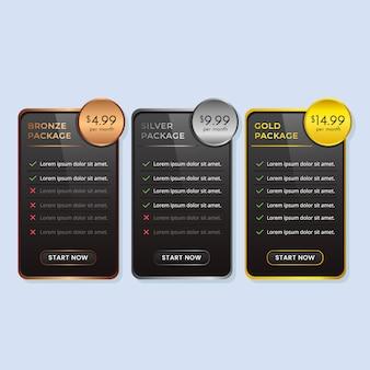Złoty srebrny brąz tabela cen lub plan taryfowy