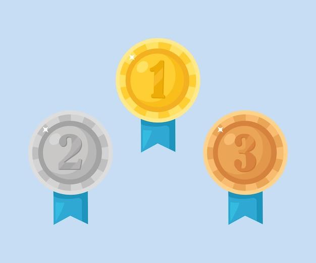 Złoty, srebrny, brązowy medal z cyframi. trofeum, nagroda dla zwycięzcy