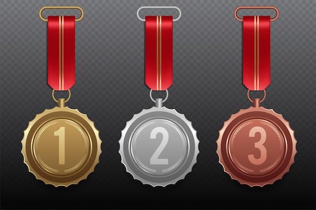 Złoty srebrny brązowy medal z czerwoną wstążką