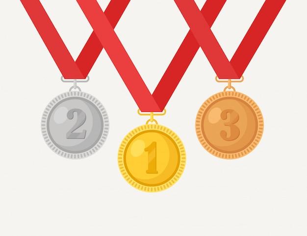 Złoty, srebrny, brązowy medal za pierwsze miejsce. trofeum, nagroda dla zwycięzcy na białym tle. zestaw złotych odznak ze wstążką. osiągnięcie, zwycięstwo. ilustracja kreskówka płaska konstrukcja