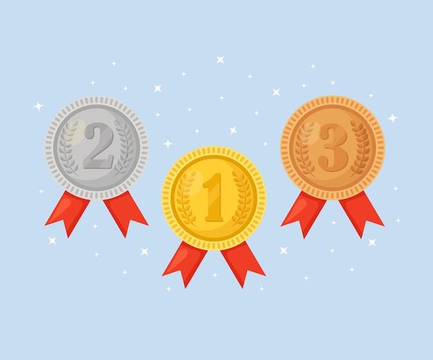 Złoty, srebrny, brązowy medal za pierwsze miejsce. trofeum, nagroda dla zwycięzcy na niebieskim tle. zestaw złotych odznak ze wstążką. osiągnięcie, zwycięstwo. ilustracja