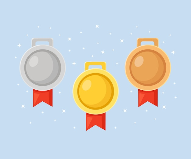 Złoty, srebrny, brązowy medal za pierwsze miejsce. trofeum, nagroda dla zwycięzcy na niebieskim tle. zestaw złotych odznak ze wstążką. osiągnięcie, zwycięstwo.