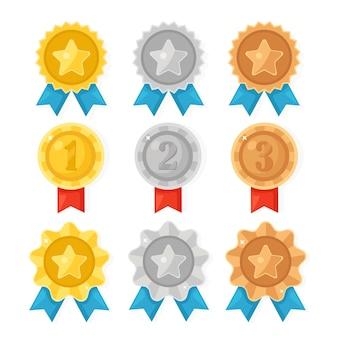 Złoty, srebrny, brązowy medal za pierwsze miejsce. trofeum, nagroda dla zwycięzcy. zestaw złotych odznak ze wstążką.