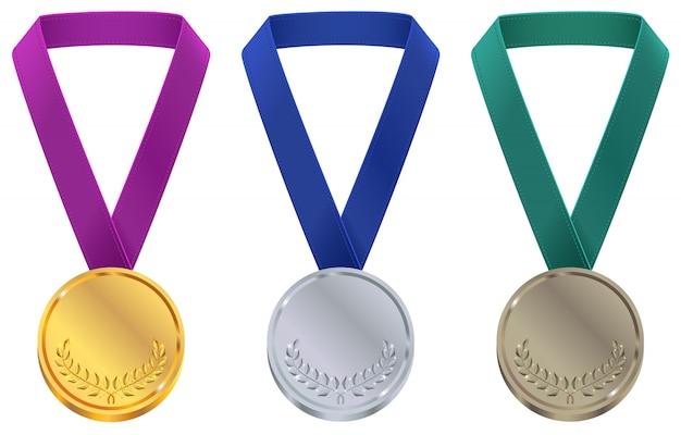 Złoty, srebrny i brązowy medal w szablonie zimowych igrzysk olimpijskich. ustaw medal sportowy na taśmie