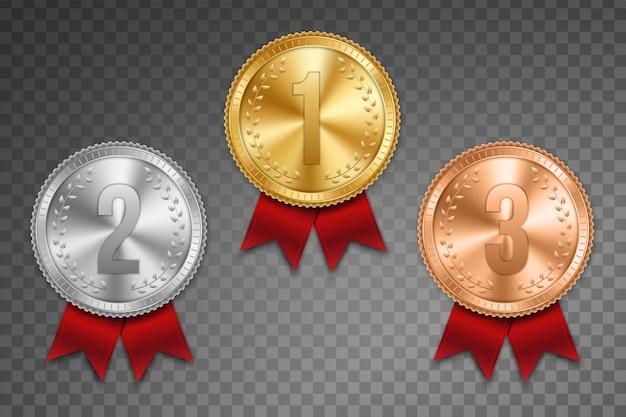 Złoty, srebrny i brązowy medal ze wstążką.