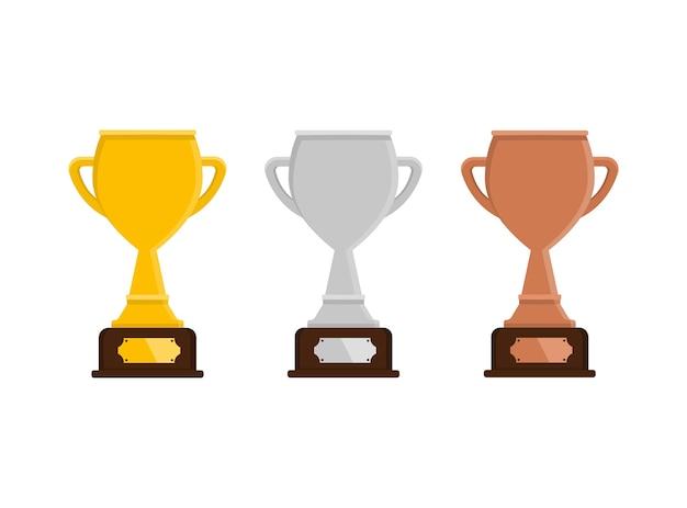 Złoty, srebrny i brązowy puchar. nagroda. puchar zwycięzcy.