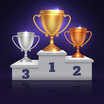 Złoty, srebrny i brązowy puchar trofeum, nagroda czara na podium zwycięzca sportu, wektor piedestale. illustrati