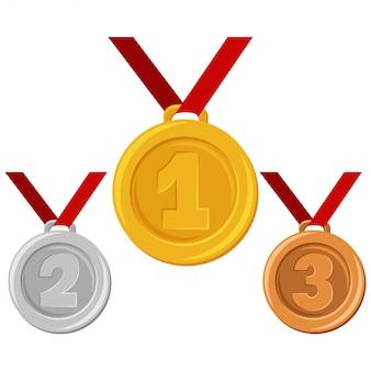 Złoty, srebrny lub brązowy medal na czerwonej wstążce. nagrody dla zwycięzców wektorowa płaska kreskówki ilustracja odizolowywająca