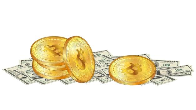 Złoty stos monet bitcoin leży na stosie papieru 100 dolarów banknotów na białym tle. cyfrowe złoto w gotówce. ilustracja wektorowa.