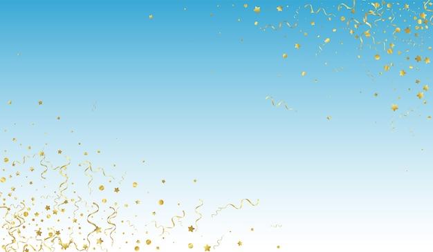 Złoty streamer uroczysty niebieskie tło. na białym tle roślina konfetti