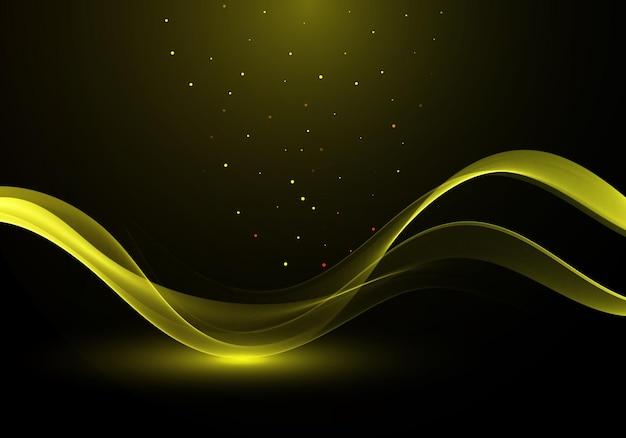 Złoty streszczenie przezroczysty efekt świetlny na czarnym tle, złote błyszczy i lekkie linie w złotym kolorze. abstrakcyjne tło wektor