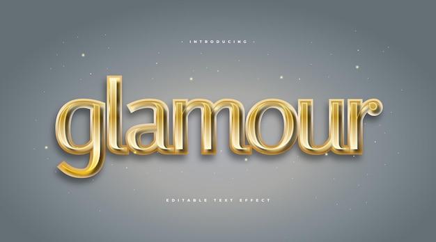 Złoty styl tekstu glamour z wytłoczonym efektem. edytowalny efekt stylu tekstu