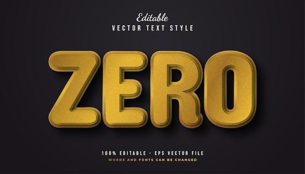 Złoty styl tekstu zero z efektem tekstury