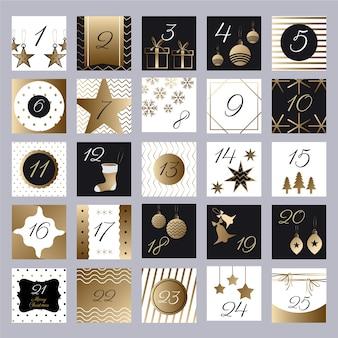 Złoty świąteczny kalendarz adwentowy