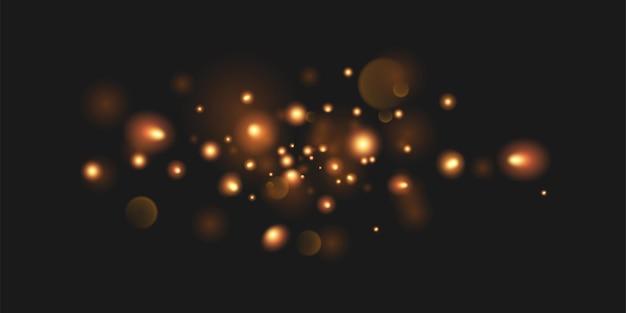 Złoty świecący pierścień z efektem świetlnym. efekt magicznego blasku brokatu