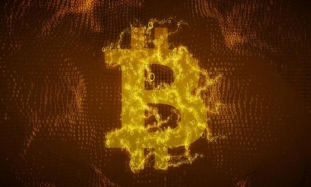 Złoty symbol bitcoin zbudowany z płynących liczb binarnych.