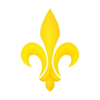 Złoty symbol fleur-de-lis. mardi gras lub ikona tłuszczu wtorek. element heraldyczny.