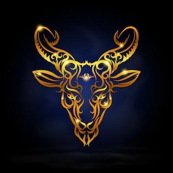 Złoty symbol koziorożca
