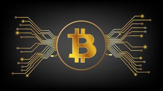 Złoty symbol kryptowaluty bitcoin btc w kręgu z utworami pcb na ciemnym tle. element projektu w stylu techno na stronie internetowej lub baner. ilustracja wektorowa.