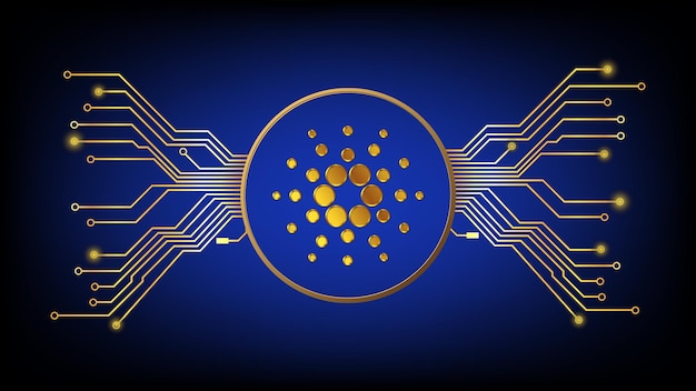 Złoty symbol kryptowaluty cardano ada w koło z utworami pcb na ciemnym tle. element projektu w stylu techno na stronie internetowej lub baneru. ilustracja wektorowa.