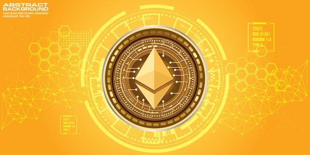 Złoty symbol monety ethereum