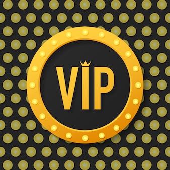 Złoty symbol wyłączności, etykieta vip z brokatem. bardzo ważna osoba - ikona vip na ciemności znak ekskluzywności z jasnym, złotym blaskiem.