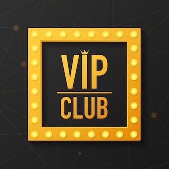 Złoty symbol wyłączności, etykieta vip z brokatem. etykieta klubu vip na black.