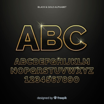 Złoty szablon alfabetu