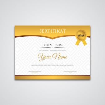 Złoty szablon certyfikatu z gradientowym projektem