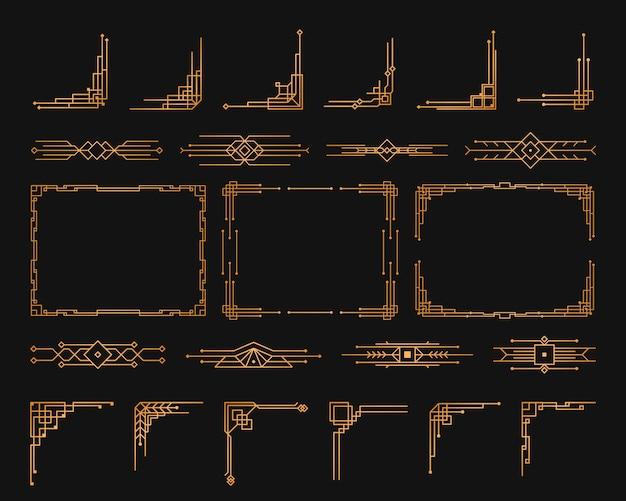Złoty szablon geometryczny w stylu lat dwudziestych xx wieku, narożniki w stylu art deco na obramowania i ramki.
