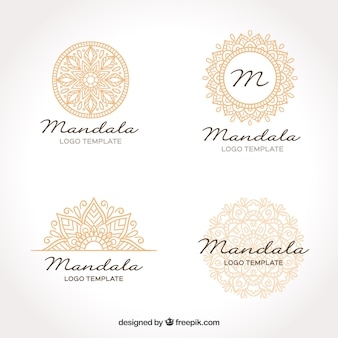 Złoty szablon logo mandali
