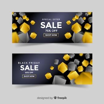 Złoty szablon transparent sprzedaży z geometrycznych kształtów
