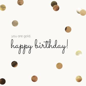 Złoty szablon z życzeniami urodzinowymi z beżowym tłem