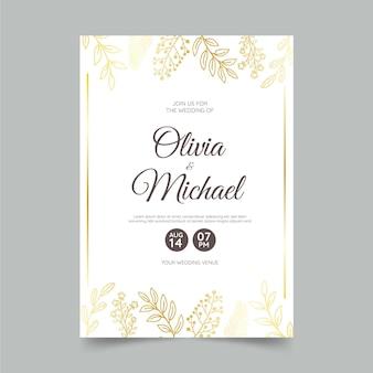 Złoty Szablon Zaproszenia ślubnego Premium Wektorów
