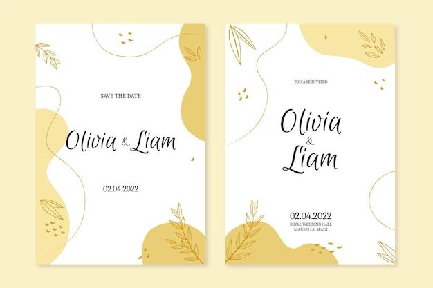 Złoty szablon zaproszenia ślubnego