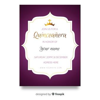 Złoty szczegóły szablon karty quinceanera