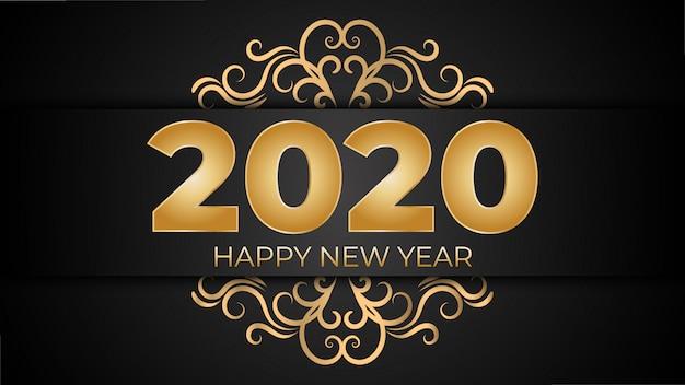 Złoty szczęśliwego nowego roku 2020 luksusowe tło