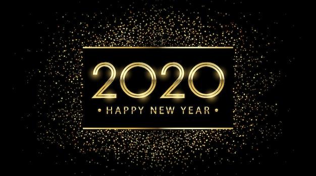Złoty szczęśliwego nowego roku 2020 w kwadratowej etykiecie z błyszczącym brokatem na czarnym tle